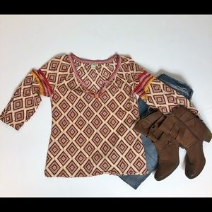 Lucky Brand print peasant blouse